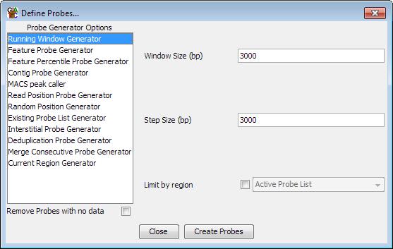 The Running Window Probe Generator